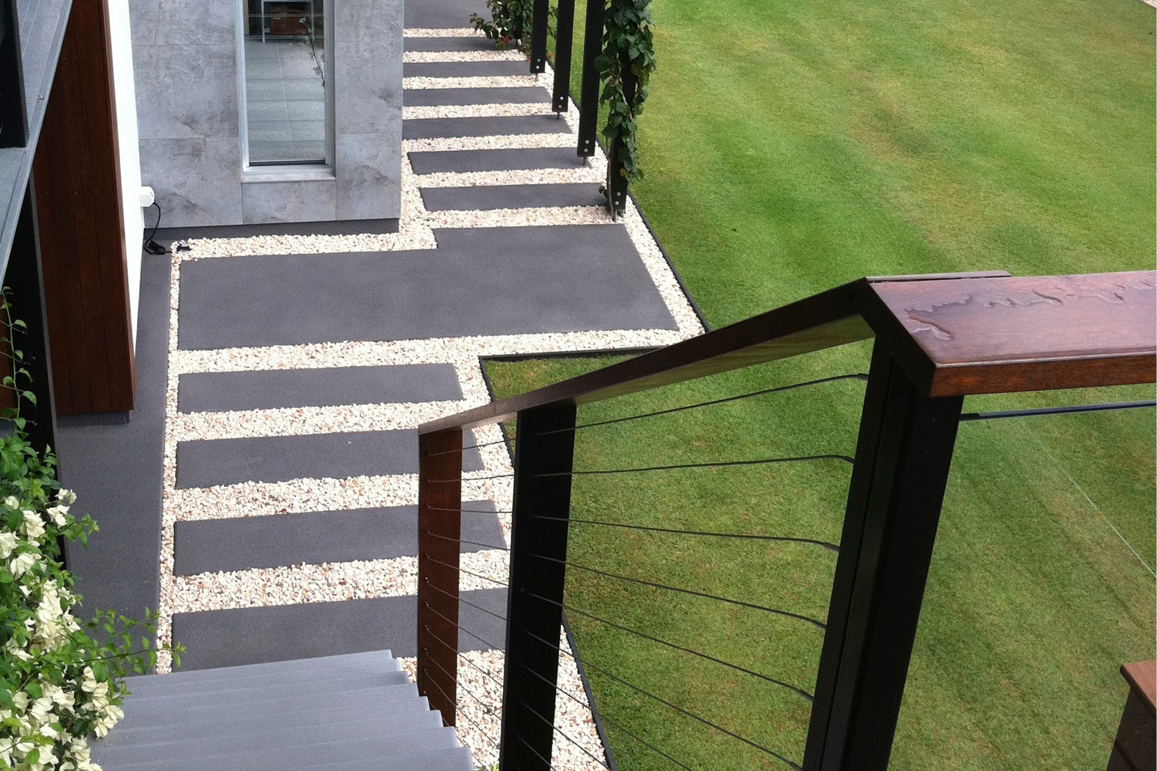Structural landscaping for modern Sunshine Coast look.