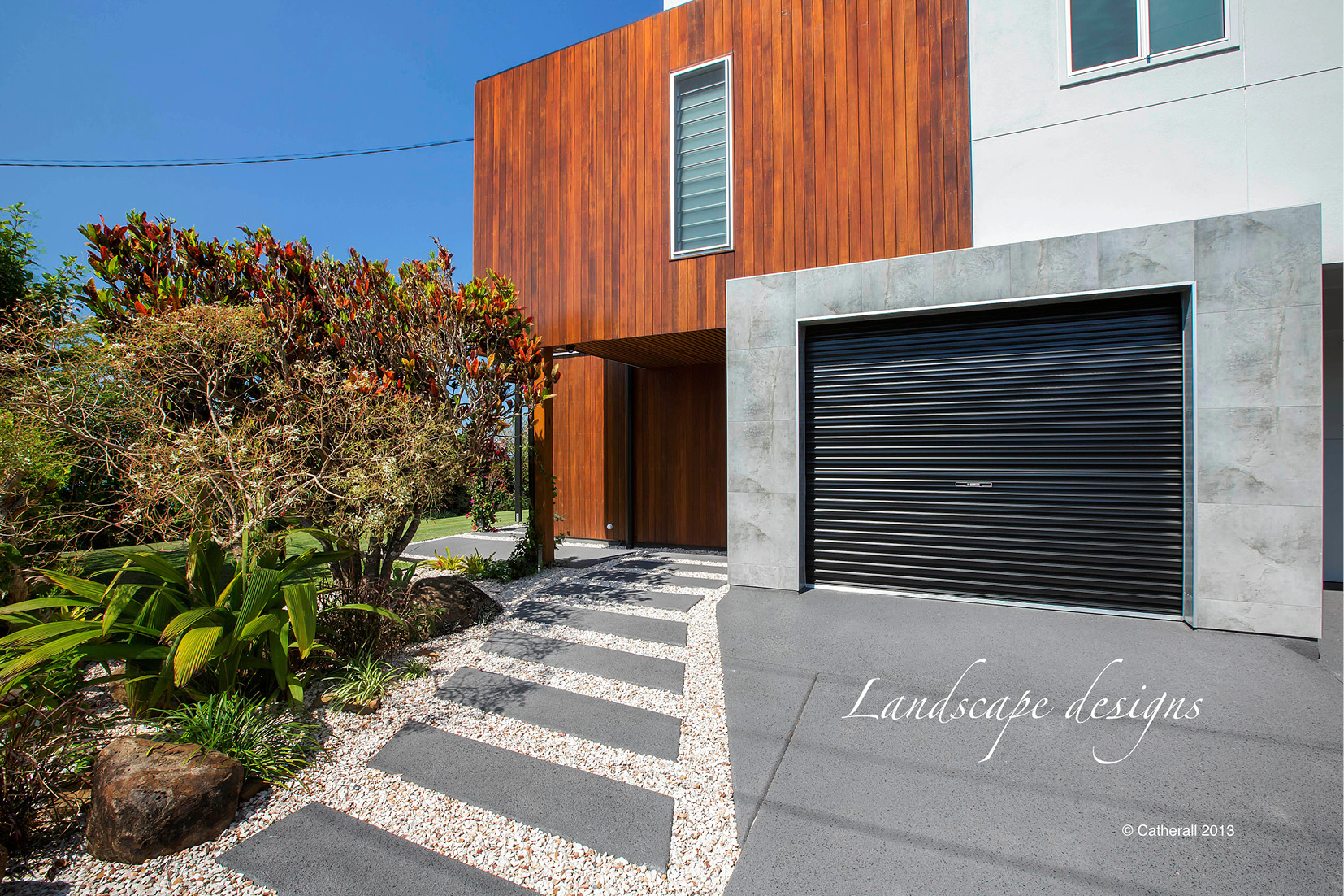 Structural Landscaping for modern Sunshine Coast property for stunning street appeal.